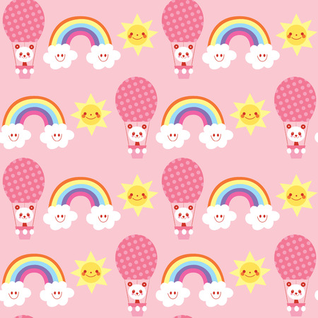Cute baby panda with rainbow and clouds seamless pattern Illustration
