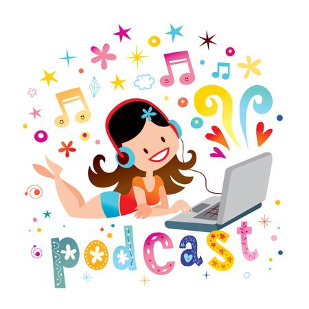 Sexy meisje het luisteren muziek podcast op laptop media de illustratie van het de pretconcept van de vermaakontspanning Stock Illustratie