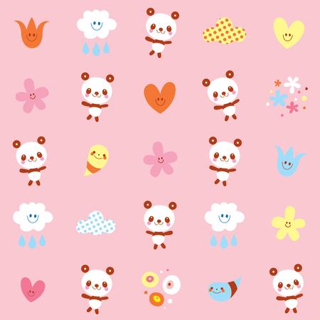 baby panda bears flowers clouds