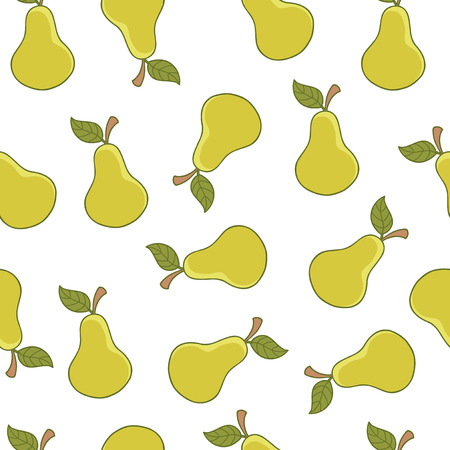 Pears in seamless pattern