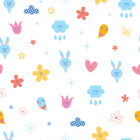 Baby bunnies flowers clouds hearts kids seamless pattern.