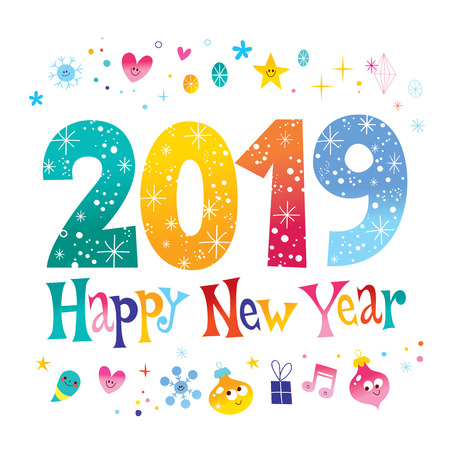 2019 new year two thousand nineteen greeting card 일러스트