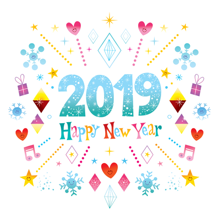 Happy New Year 2019 greeting card