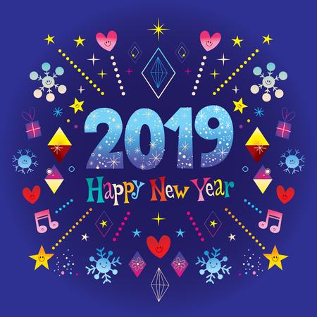 Happy New Year 2019 greeting card with hearts, snowflakes, stars, musical notes vector illustration.