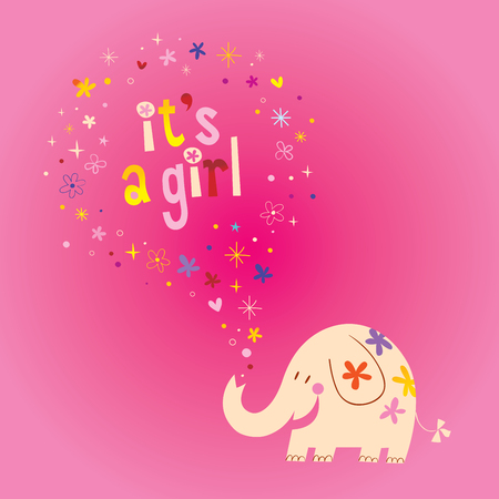 its a girl card with cute elephant, stars and hearts on pink background. Vector illustration.