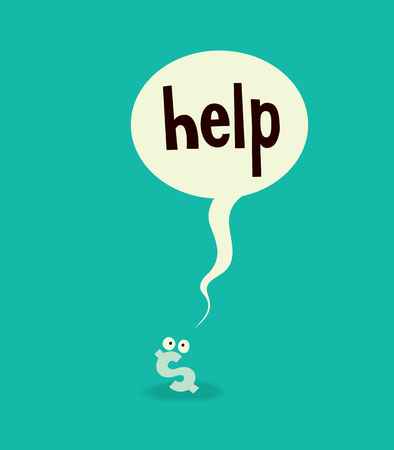 little dollar sign asks for help concept cartoon illustration Illustration