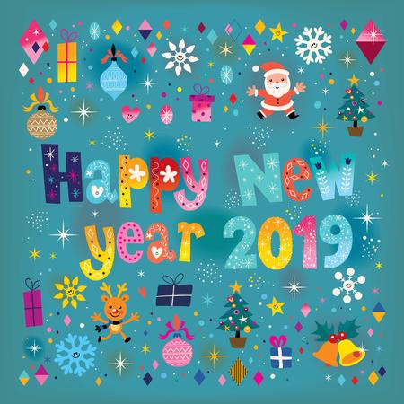 Happy New year 2019 retro greeting card Illustration