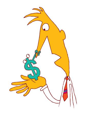 ドルサインファイナンスビジネス通貨マネーコンセプト漫画イラスト  イラスト・ベクター素材