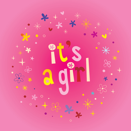 its a girl card with stars and hearts on pink background. Vector illustration. Çizim