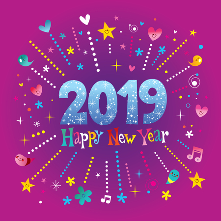 Happy New Year 2019 greeting card with stars, hearts, musical instruments on purple background. Vector illustration. Illustration