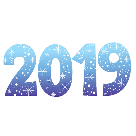 2019 new year two thousand eighteen blue decorative number with stars, vector illustration isolated on white background.