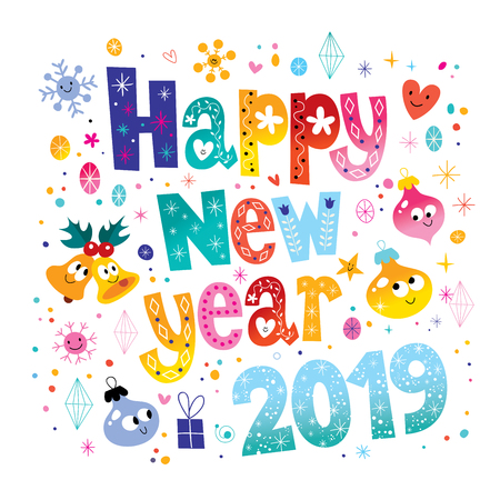 Happy New Year 2019 card with doodles of gift, stars, hearts, snowflakes on white background. Vector illustration. Illustration