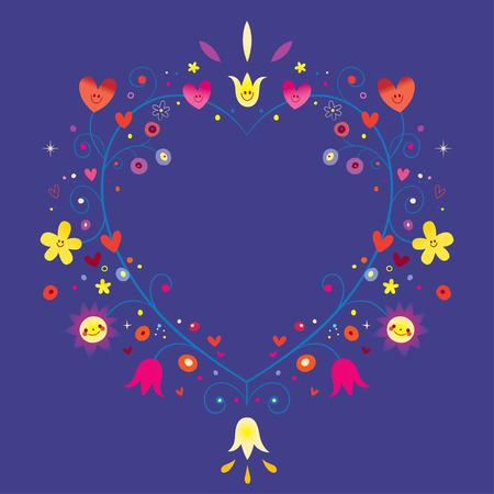 Heart shaped ornamental decorative romantic frame with flowers. Reklamní fotografie - 96432488