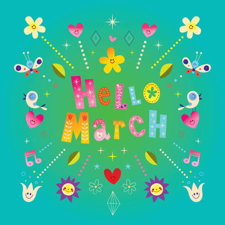 Hello March greeting card. Stock Illustratie