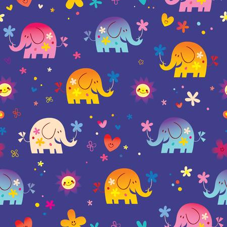 Cute elephants and flowers seamless pattern. Reklamní fotografie - 96386409