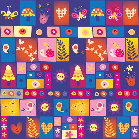 Cute flowers, birds, mushrooms and snails collage nature pattern. Illusztráció