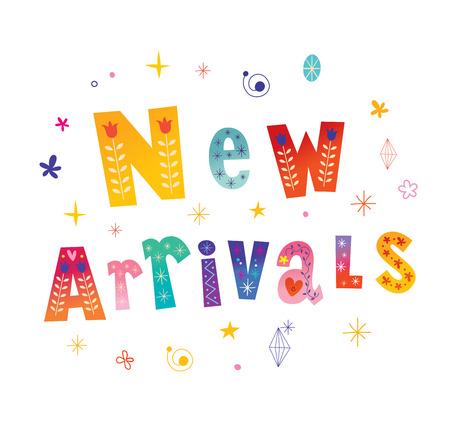 New arrivals decorative lettering type design.