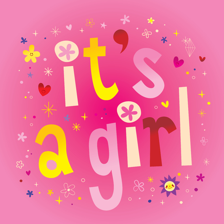 Its a girl typography illustration on colorful design.