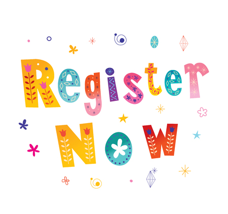 register now button lettering design Stock Illustratie