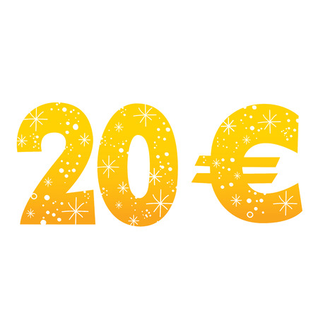 20 Euro sign icon symbol on white background.