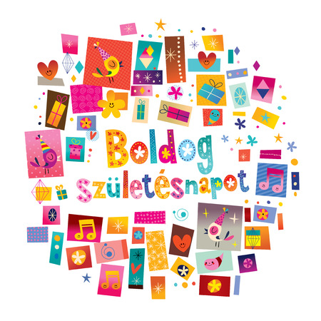 Happy birthday in Hungarian card Stock Illustratie