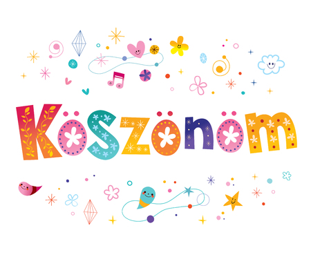 koszonom - thank you in Hungarian language Stock Illustratie