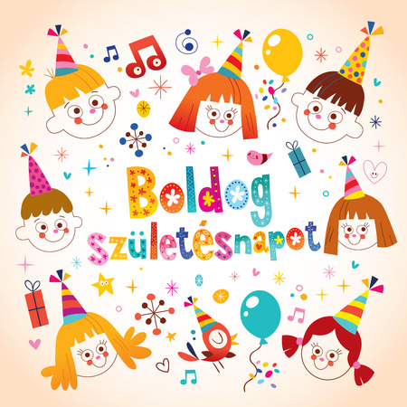 Happy Birthday in Hungarian kids greeting card Banque d'images - 97900775