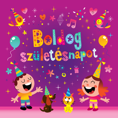 Happy birthday in Hungarian greeting card