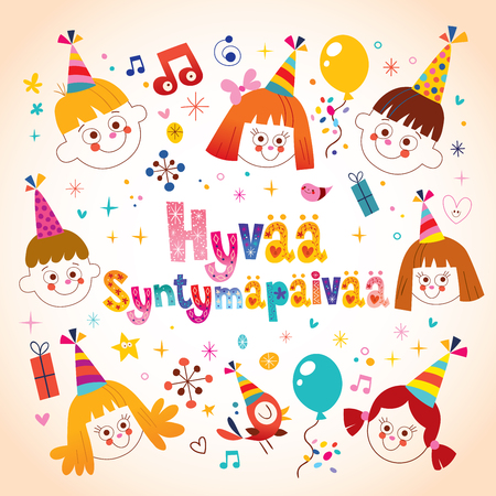 Happy Birthday in Finnish kids greeting card Çizim