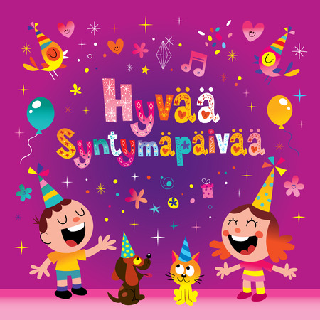 Happy birthday in Finnish greeting card