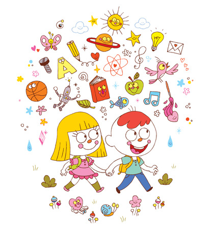 little boy and girl going to school - learning education knowledge science concept illustration