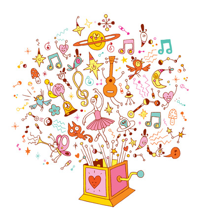 music box - burst of music and creativity cartoon illustration