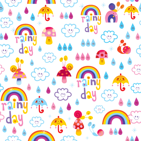 rainy day rainbows umbrellas raindrops snails sky seamless pattern