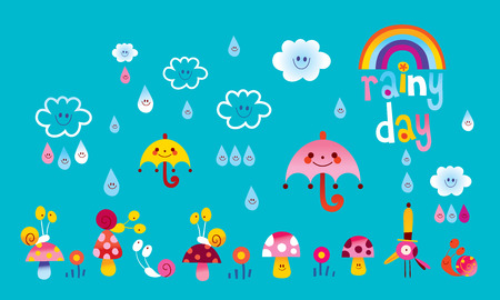 rainy day weather illustration with cute characters
