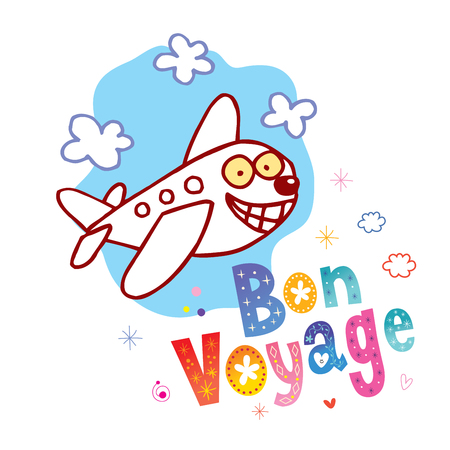 Bon Voyage - fijne reis in het Frans - schattige vliegtuigkarakter mascotte reistoerisme illustratie Vector Illustratie