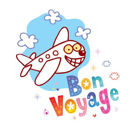 Buen viaje - que tengas un buen viaje en francés - lindo personaje de avión mascota viaje turismo ilustración Ilustración de vector