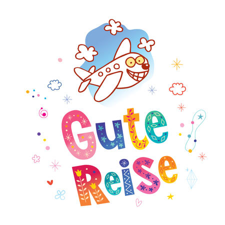 Gute Reise - Have a good trip in German Illustration