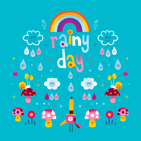 rainy day clouds rainbow raindrops snails mushrooms Ilustrace