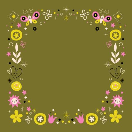 abstract art flowers nature retro frame border design element
