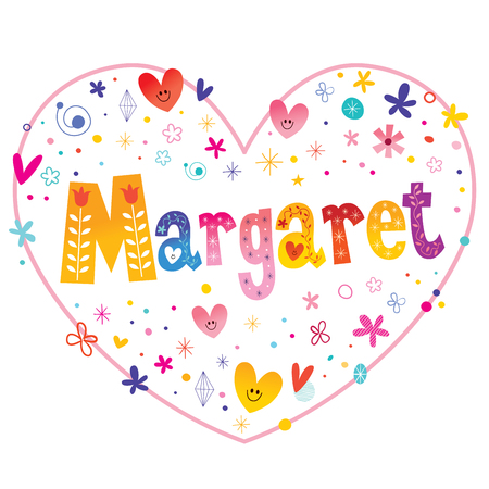 Margaret given name decorative lettering heart shaped love design