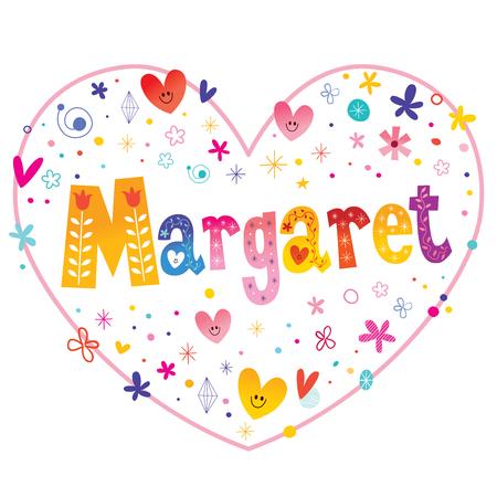 Margaret given name decorative lettering heart shaped love design