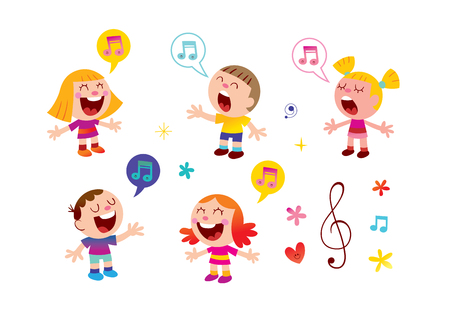 group of kids singing music education illustration Çizim