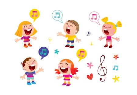 Gruppe von Kindern, die Musikunterricht Illustration singen Vektorgrafik