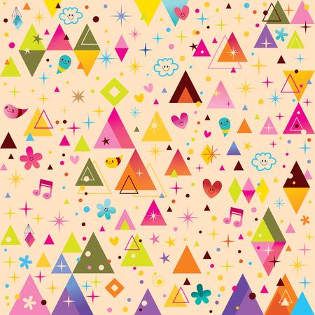 fun triangles funky cartoon retro pattern