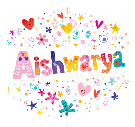 Aishwarya  - Hindu, Indian, Nepalese girls name decorative lettering type design