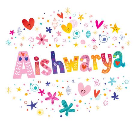 Aishwarya  - Hindu, Indian, Nepalese girls name decorative lettering type design