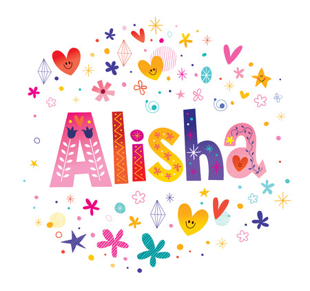 Alisha girls name decorative lettering type design 写真素材 - 115944679