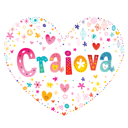 Craiova city in Romania heart shaped decorative lettering