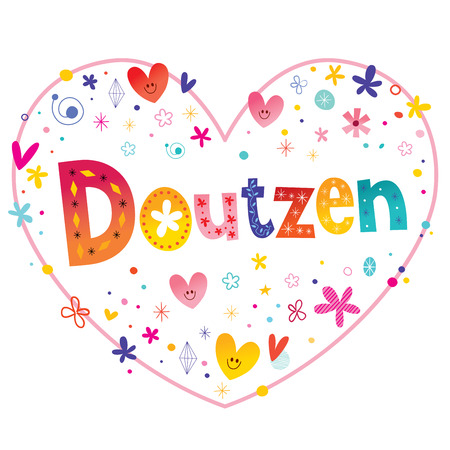Doutzen girls name decorative lettering heart shaped love design Stock Illustratie