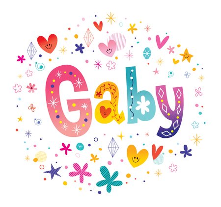 Gaby girls name decorative lettering type design